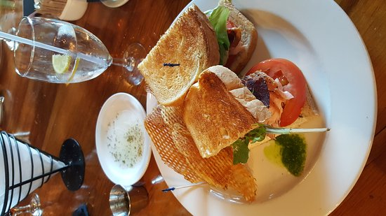 Cypress Grille: Lunch with smoked salmon club sandwich