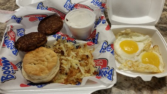 Mustang, OK: Rotten eggs, hockey puck biscuit, jello gravy, hashbrowns, sausage patties