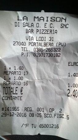 Portalbera, Italia: scontrino