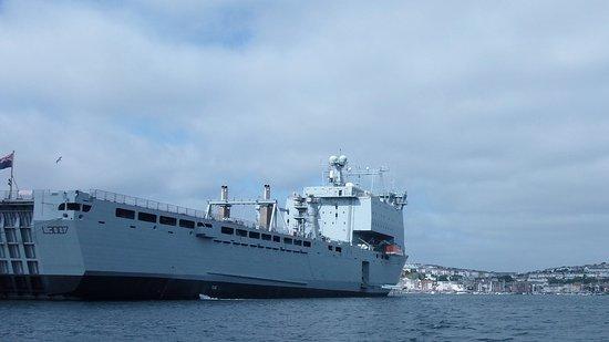 Falmouth, UK: Naval ship that we passed