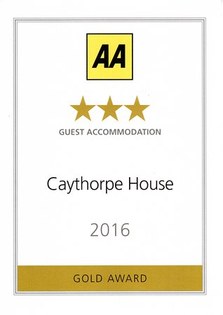 Caythorpe House: Our 2016 Gold Star Award for outstanding levels of hospitality and Service.