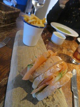 Farnham, UK : Smoked salmon and cucumber sandwich, skinny fries £8.95