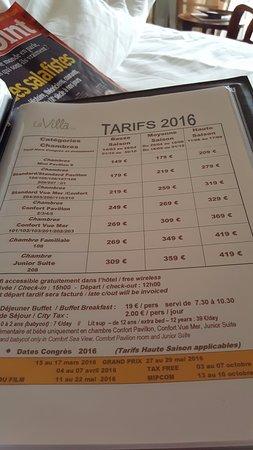 La Villa : Tarif