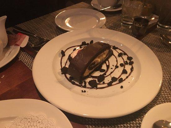 Acadiana: warm chocolate melting cake peanut butter ice cream, spicy peanut brittle