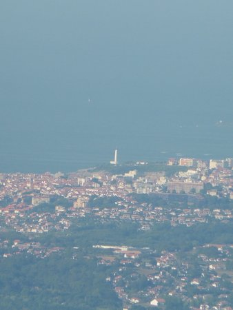 Sare, France : view from the top of La Rhune of the lighthouse at Biarritz
