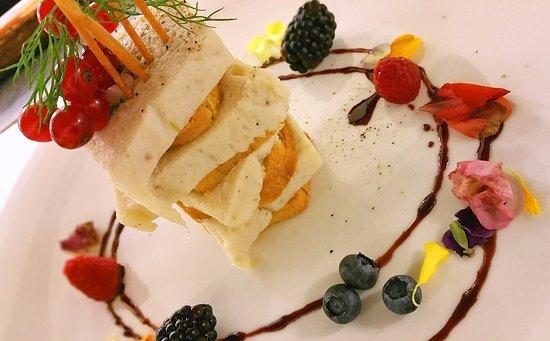 Atlantic Hotel Riccione: Uno dei piatti del Green: terrina di rombo e pan brioche