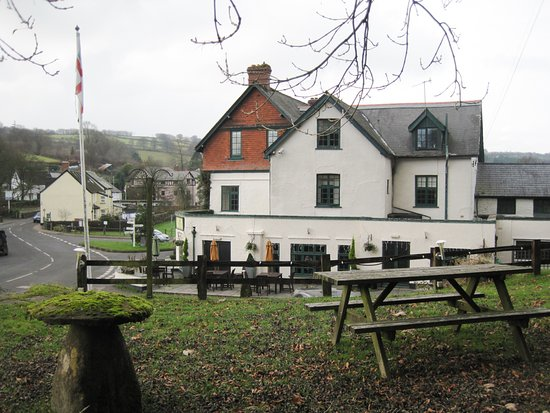 The Crown Hotel, Exford: View from picnic area above the car park at The Crown Hotel