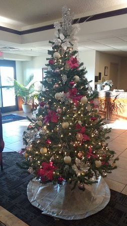 Madisonville, KY: Lobby decorated for Christmas