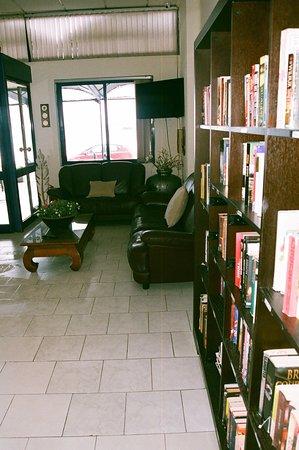 Danaos Hotel: Αλλη άποψη της βιβλιοθήκης με το σαλόνι