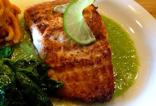 Bryn Mawr, PA: Salmon with spinach, sweet potato and roasted tomatillo salsa