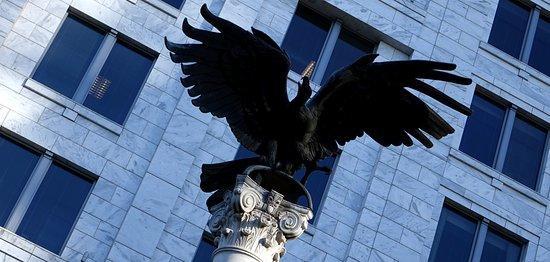 federal reserve bank of atlanta turkey vulture at entrance