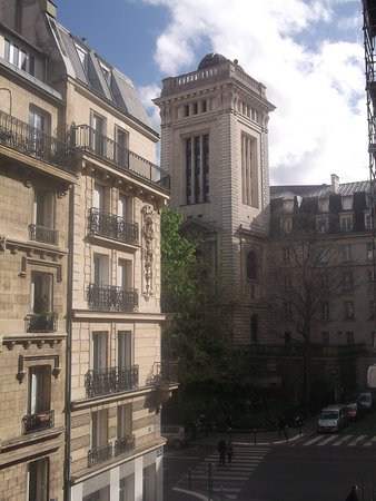 Agora Saint Germain: view from room showing educational ministry building