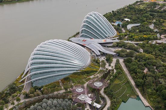 Gardens by the Bay, Flower Dome and Cloud Forest from the SkyPark
