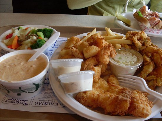 Seafood Sam's On The Canal: lobster bisque, fried seafood platter, steamed veggies (lobster roll in background)