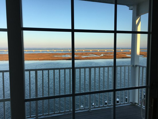 Hampton Inn and Suites Chincoteague-Waterfront: View from room 306, looking west-north-west across Chincoteague Channel.
