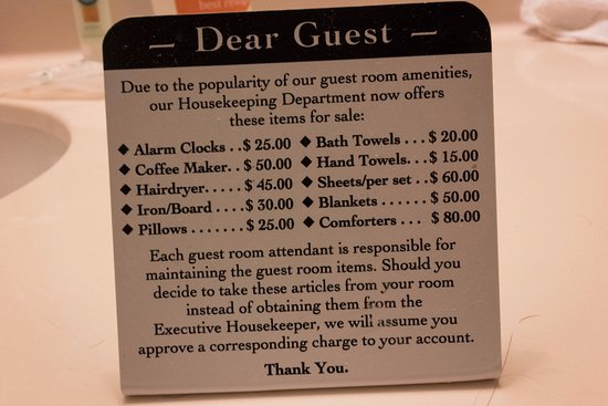 "Quality Inn at Arlington Highlands: The list of items offered ""for sale."""