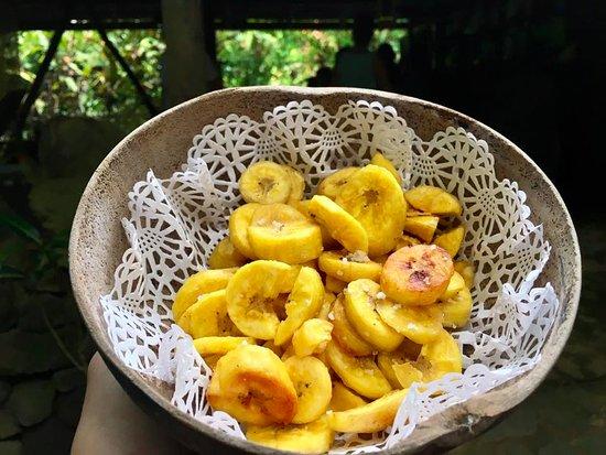 Secret Bay: Fresh fried plantains at the Indian River Bush Bar