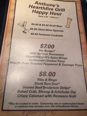 Anthony's Hearthfire Grill - North Point: Happy Hour Menu 2