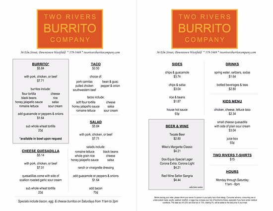 Westfield, MA: Menu current as of 1/1/17!