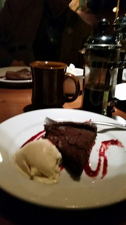 Washougal, WA: Flourless chocolate cake with berry sauce; incredibly delicate, not too sweet perfect ending;