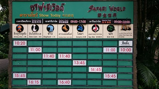 The daily show times - Picture of Safari World, Bangkok