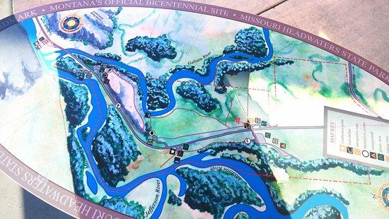 Three Forks, MT: Schautafel zum Zusammenfluss der drei Flüsse