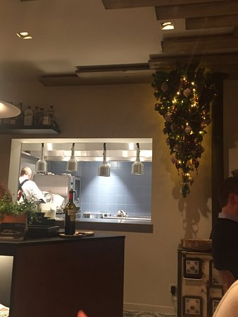 Bornem, Belgia: view of kitchen and beautiful christmas tree