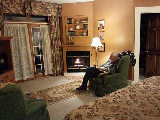 Flat Rock, Caroline du Nord : Room 10 in the Woodward house. Cozy by the fire.