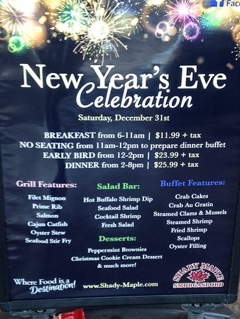 East Earl, PA: New Year's Eve MENU