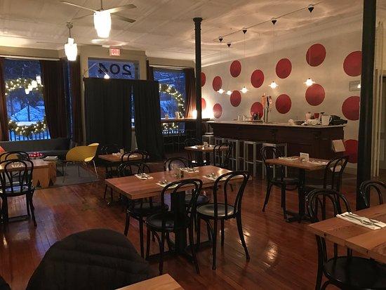 Sharon Springs, NY: 204 Main dining room & bar set for dinner Dec. 30, 2016/NN