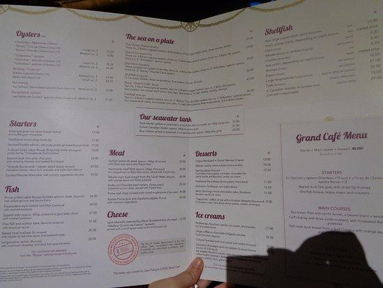 English Menu - Picture of Le Grand Cafe Capucines, Paris - TripAdvisor