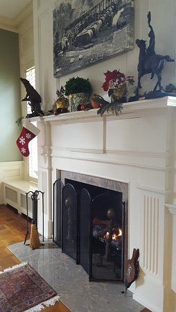 Rocky Mount, VA: Fireplace in the Library in The Early Inn at the Grove
