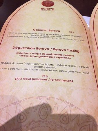 Beroya Tasting Menu Picture Of Beroya Laval Tripadvisor