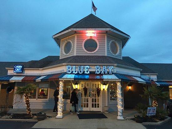 Blue Bay Seafood Restaurant Front At Dusk