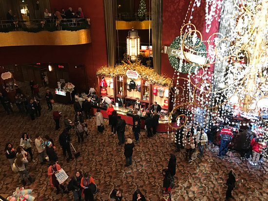Inside Radio City Music Hall looking down from the first