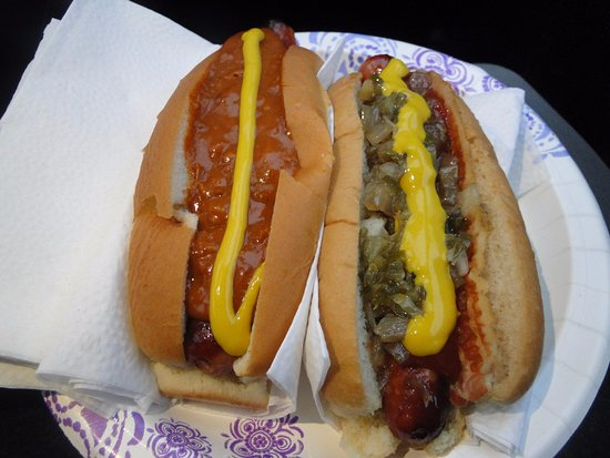 Wasses Hot Dogs : Chili Dog with Mustard and Bacon Dog with the works (plus ketchup)