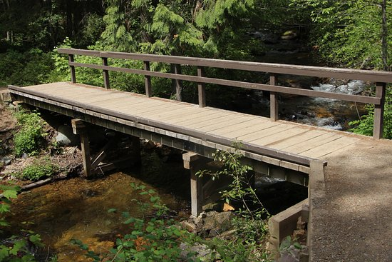 Apgar Village Lodge: bridge near lodge