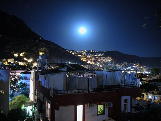 Hilal Pension: night time view from balcony