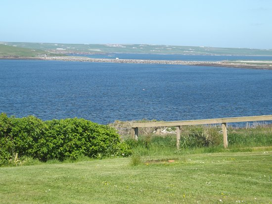 Burray, UK: View of Churchill Barrier No 3 from the garden.