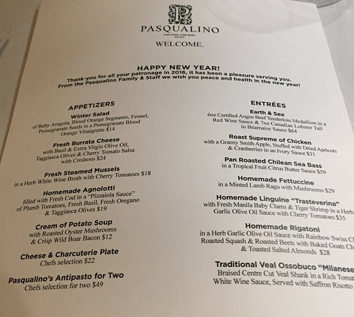 Pasqualino: New Year menu