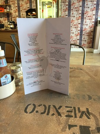 Polmont, UK : Tables & menu (upside down oops)
