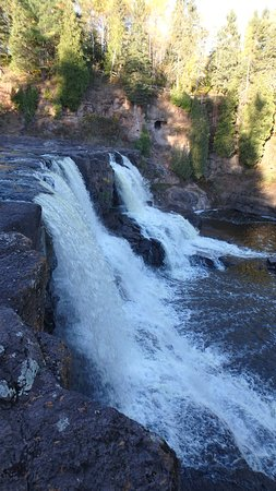 Two Harbors, MN: Middle Falls From the Side (Tall)