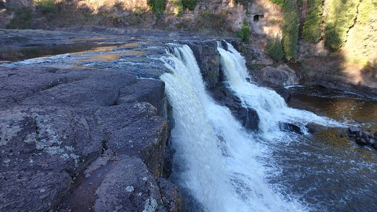 Two Harbors, MN: Middle Falls From the Side (Wide)