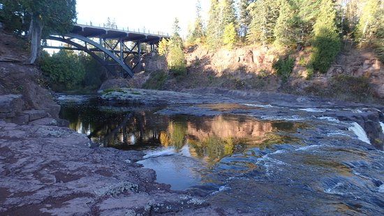 Two Harbors, MN: Still Pools Above Middle Falls and Bridge