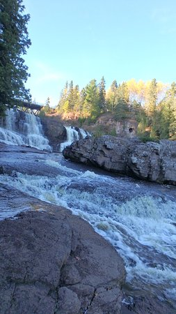 Two Harbors, MN: View Up Middle Falls at Sunset