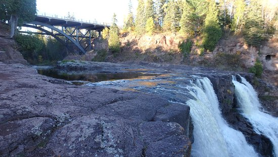 Two Harbors, MN: Wide View of Middle Falls and Bridge