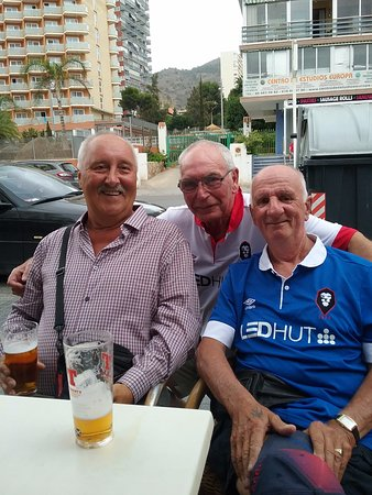 The Union Jack: My husband and on the left and his 2 friends