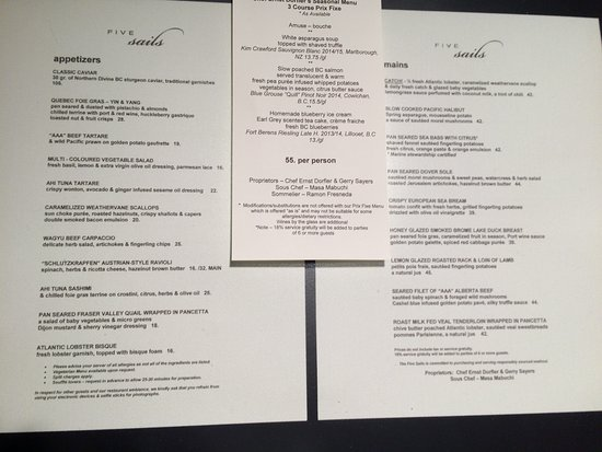 Five Sails Restaurant: Menu