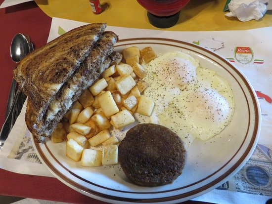 Loudon, Τενεσί: 2-Egg Breakfast w/sausage patty, fried potatoes and marbled rye toast