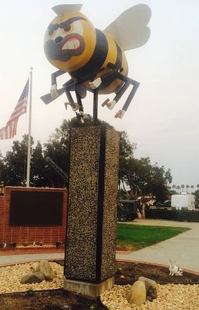 "Port Hueneme, CA: My pet rabbit ""Narvik"" plays at base of Seabee monument....."